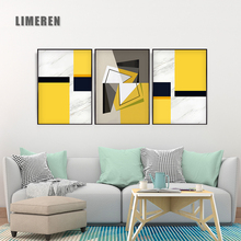 Nordic Decorative Canvas Painting Abstract Posters Geometric Shapes Yellow Black and White No Frame for Living Room