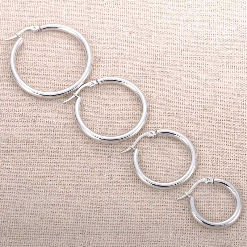 FUNIQUE 20-35mm kadınlar Brincos 2018 küpe takı hediye yuvarlak geometrik Hoop küpe gümüş renk paslanmaz çelik küpe