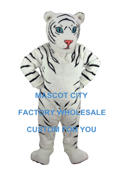 Plush Mascot White Tiger Cub Mascot Costume Adult Cartoon Character Party Carnival Theme Mascotte Outfit Fit Fancy Dress SW916