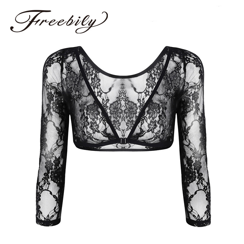 Sexy Women Lingerie Fashion See Through Floral Lace 3/4 Length Sleeve Slip-on Short Shirts Crop Top for Party Nightwear