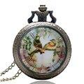 Antigüedad de la vendimia de Aves Pintura Flor Del Reloj de Bolsillo con Cadena de Collar para Las Mujeres Niñas de Regalo Novia
