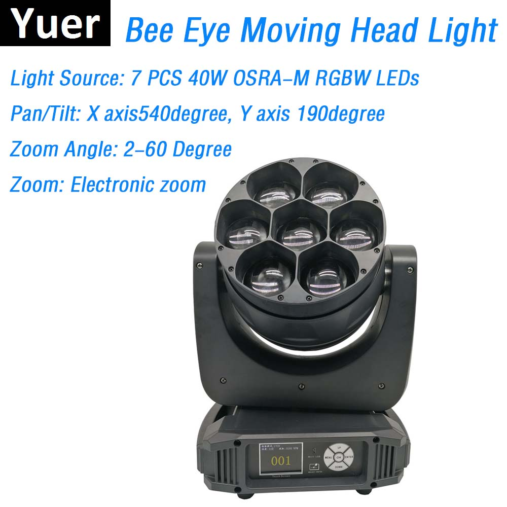 Bee Eye Moving Head Lights 7X40W RGBW 4IN1 LED Lyre Moving Head Lights Perfect For Stage Theater Party Christmas Decorations