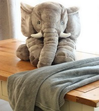 Cartoon Plush Elephant Toy Kids Sleeping Pillow Back Cushion Stuffed Blanket