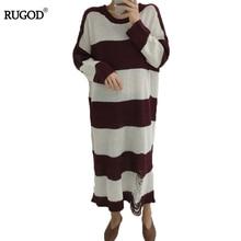 Rugod 2018 новый корейский осень-зима вязаное платье Для женщин Повседневная Полосатый О Средства ухода за кожей Шеи Вязание верхняя одежда,свитер платье роковой vestidos