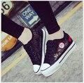 Primavera Verão Coreano Lace Mulheres Sapatos de malha gaze Sólida Plataforma Plana Sapatos de Lona Altura Crescente das Mulheres Flats 6033
