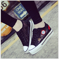 Spring Summer Korean Lace Women Shoes mesh gauze Solid Flat Platform Canvas Shoes Height Increasing Women's Flats 6033