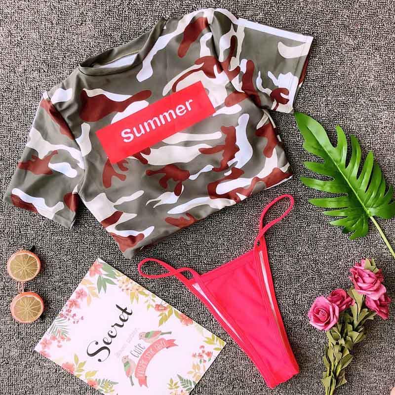 Swimsuit Separate Swimsuits Thong Short Sleeve Women\'s Swimwear Triangle Push Up Swimming Suit For Women Bathing Suit Swim Wear