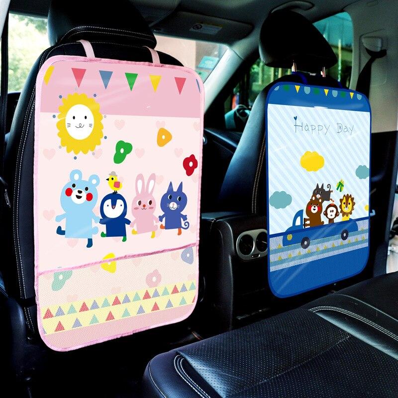 Multi-funktionale Auto Sitz Anti-kick Tasche Cartoon Wasserdichte Kinder Schutz Kissen Stuhl Zurück Schutt Große Hängen Tasche