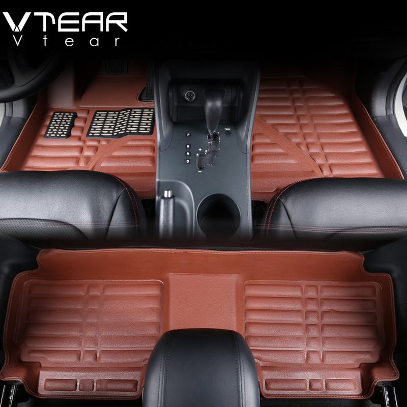 vtear for kia rio floor mats interior pad waterproof durable rugs non slip carpets car styling. Black Bedroom Furniture Sets. Home Design Ideas