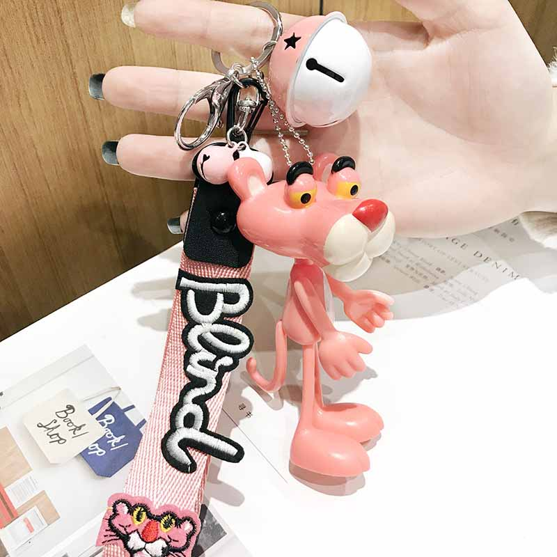 Randomly SentCartoon Cute Doll Animal Pink Panther Keychain Key Rings Leather Rope Bells Key Chains Women Car Bag Charms Pendant