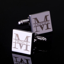 Personalized Customization Mens Cufflinks Wedding Gifts Sliver Men Shirt Cuff links Customized Engraved Lettering Name Cufflink
