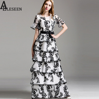 Bohemian Fashion Maxi Summer Vestido 2017 New Vintage Flare Sleeve Floral Luxury White / Black Embroidery Long Dress for Women