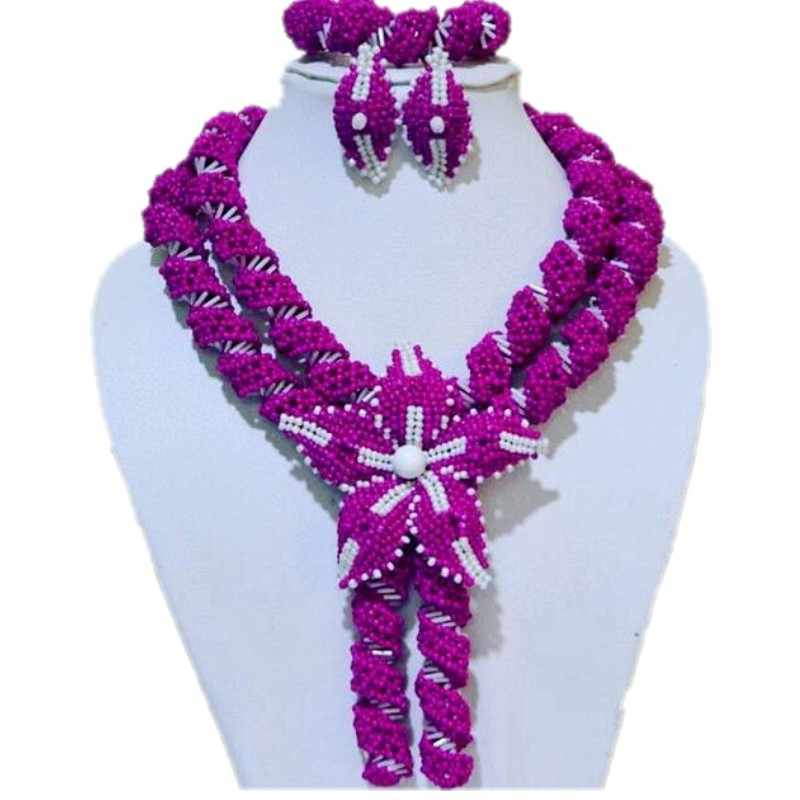 Elegant Fine Jewelry Set Fuchsia Pink Bridal African Jewelry Sets For Women Crystal Handmade layers Jewellery Set Beads 2018