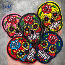 Rose Red Skull Embroidery Patch Clothes Biker Iron on Patches for Clothing Punk Stickers Decorative Fabric Fashion Badges JOD embroidered patches medic skull tactical military patches paramedic decorative reflective medical cross embroidery badges
