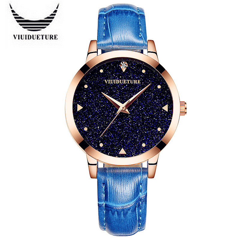 VIUIDUETURE Luxury Brand Fashion Popular Starry Sky Series Quartz Watch Women Rose Gold Rhinestone Leather Watches Montre Femme