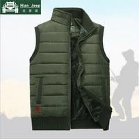2016 Brand Men Winter Coat Warm Sleeveless Jacket Casual Men Vest Coat Fleece Army Green Waistcoat