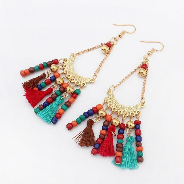 Multi Color Combo Seed Beads And Tessel Cord Lady S Boho Earrings