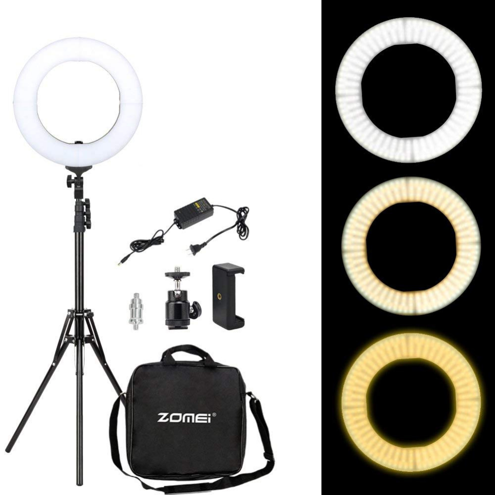 ZOMEI 14 inch Dimmable LED Ring Light Phone Holder Camera Photo Video Lighting Kit for Makeup
