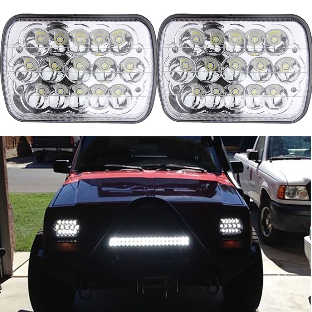 2 Pcs 7x6 Inch Square Rectangular Front Headlight Lamp H4 Bulb 12v Led Waterproof For Jeep Cherolee Xj Toyota Trucks To Be Renowned Both At Home And Abroad For Exquisite Workmanship Car Lights Skillful Knitting And Elegant Design Car Headlight Bulbs(led)
