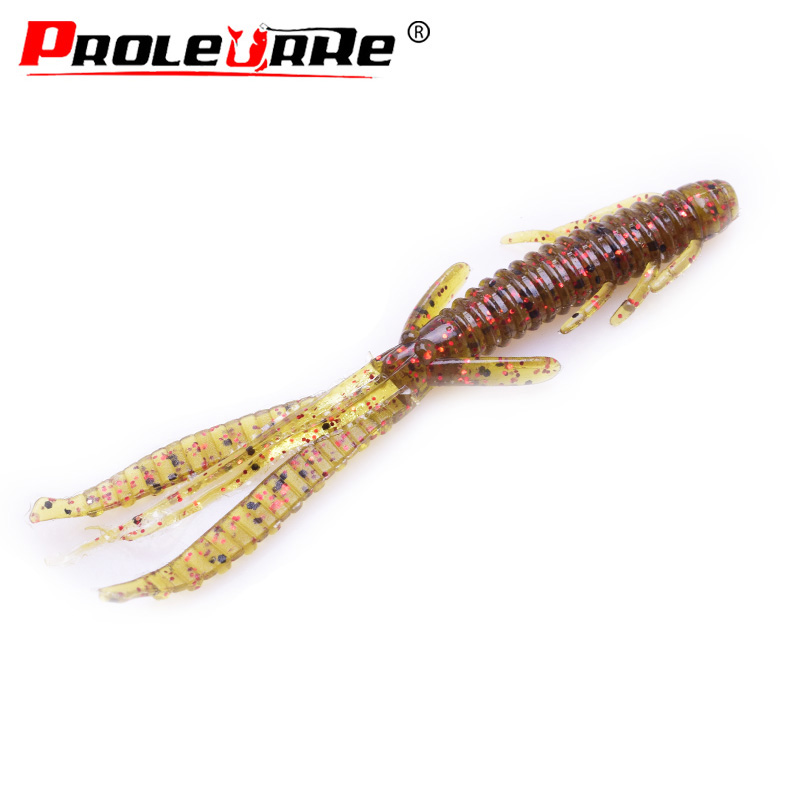 5Pcs/lot 75mm 1.8g Jig Wobbler Soft Bait Silicone Lure Worm Fishing Lures Attractive Shrimp Odor Salt Swivel Bass Fishing Tackle