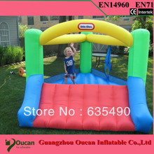 Mini trampoline tarpaulin inflatable bouncers with slide for kids and baby