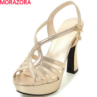 MORAZORA hot sale peep toe wedges shoes high heels sandals women pumps platform shoes summer party fashion big size 34 39
