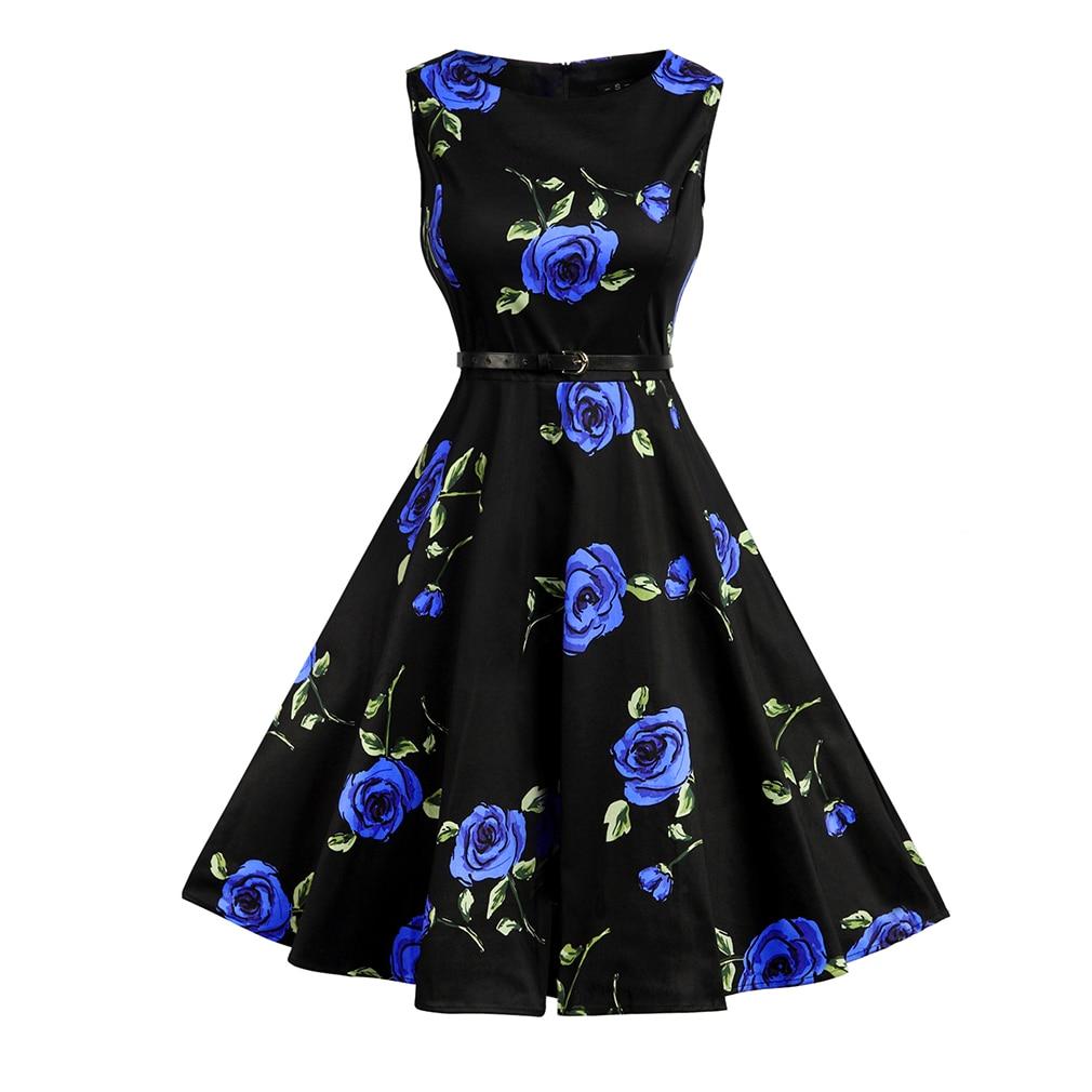 Vintage dress de las mujeres sin mangas del verano dress elegante 1950's retro d