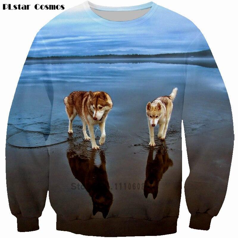 PLstar Cosmos New Men Hoodies Cute Huskydog Crewneck Sweatshirt Princess Sweatshirts 3D Print tops Big size 5XL