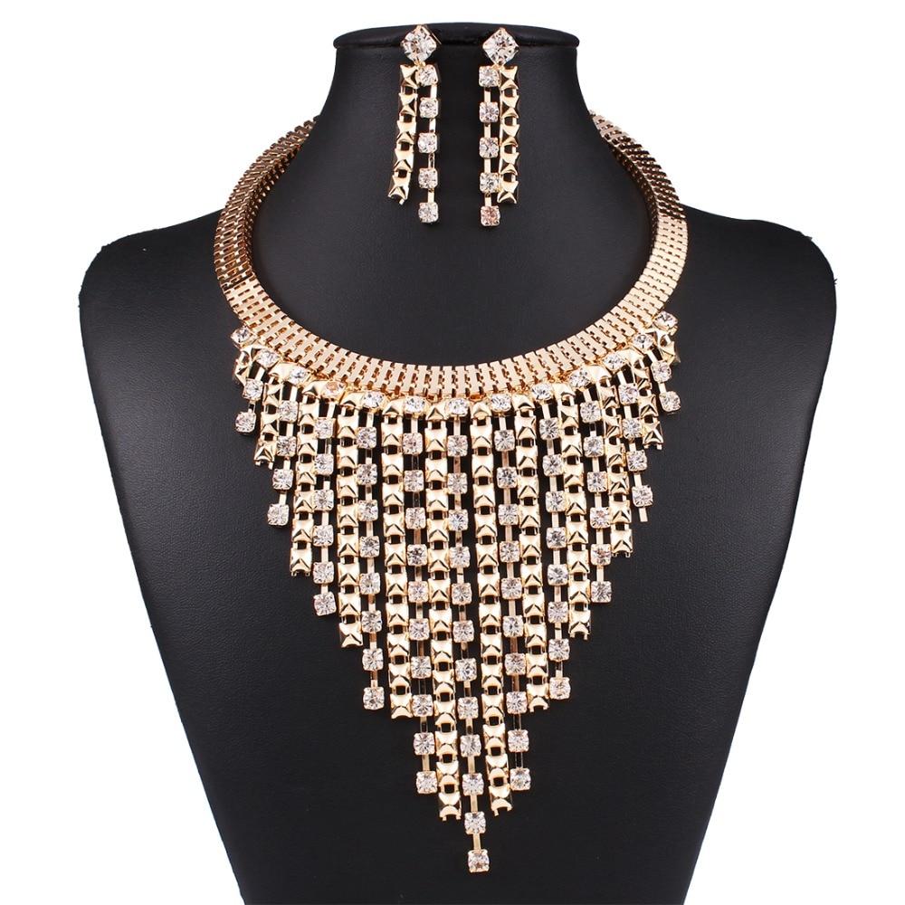 Solememo luxus arany esküvői ékszer szettek Női divat ékszer szettek osztrák kristály medál nyaklánc hosszú fülbevaló N3589