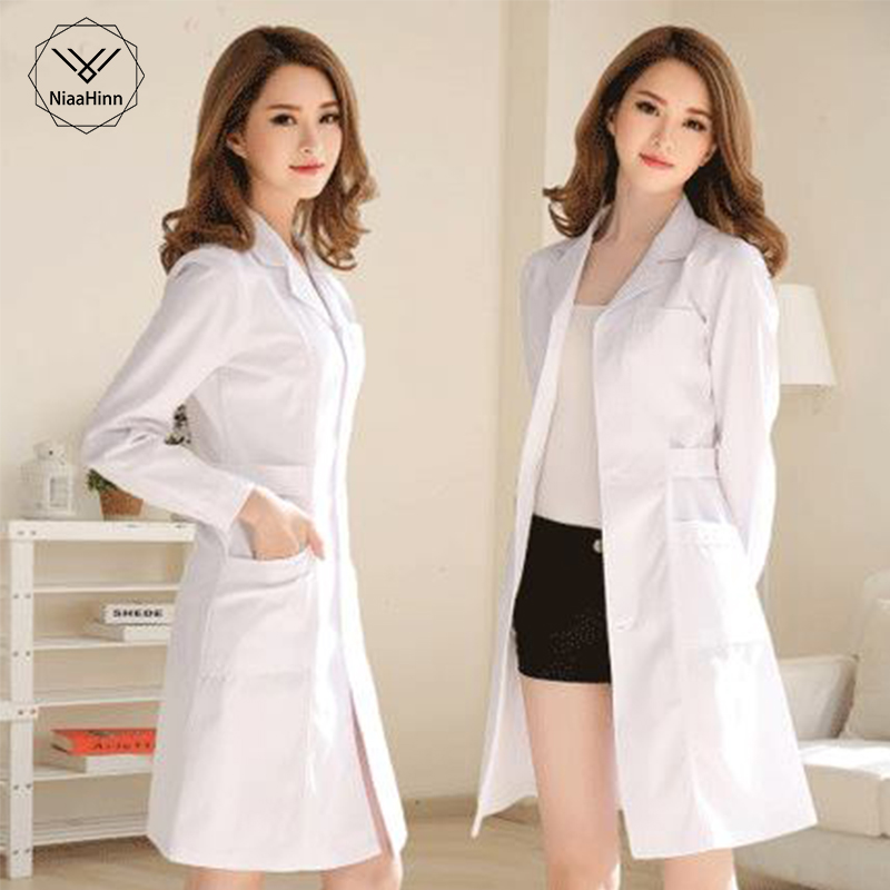 White Coat Long Sleeve Doctor Dress Female Doctor Dress White Coat Short Sleeve Men Slim Nurse Suit Clothes Uniform SPA Uniform