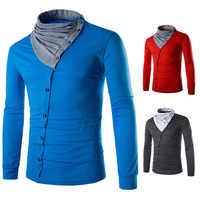 Degli uomini di usura obliqua singolo-fila pulsante Europeo e Americano T-Shirt da uomo autunno e inverno nuovo stile di cucitura mucchio collare degli uomini