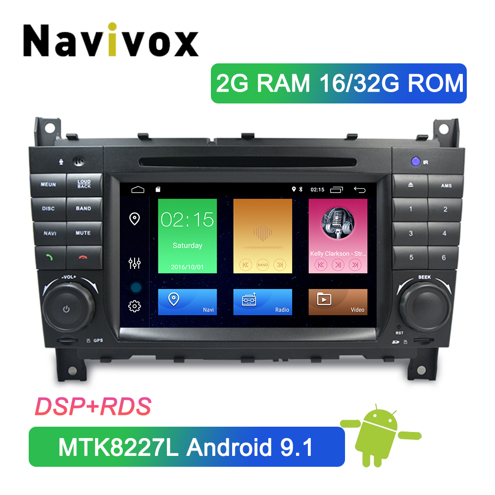 Navivox <font><b>Android</b></font> 9.1 2 Din Car DVD <font><b>GPS</b></font> For <font><b>Mercedes</b></font>/Benz <font><b>W203</b></font> W209 W219 A-Class A160 C-Class C180 C200 CLK200 Car Multimedia Navi image