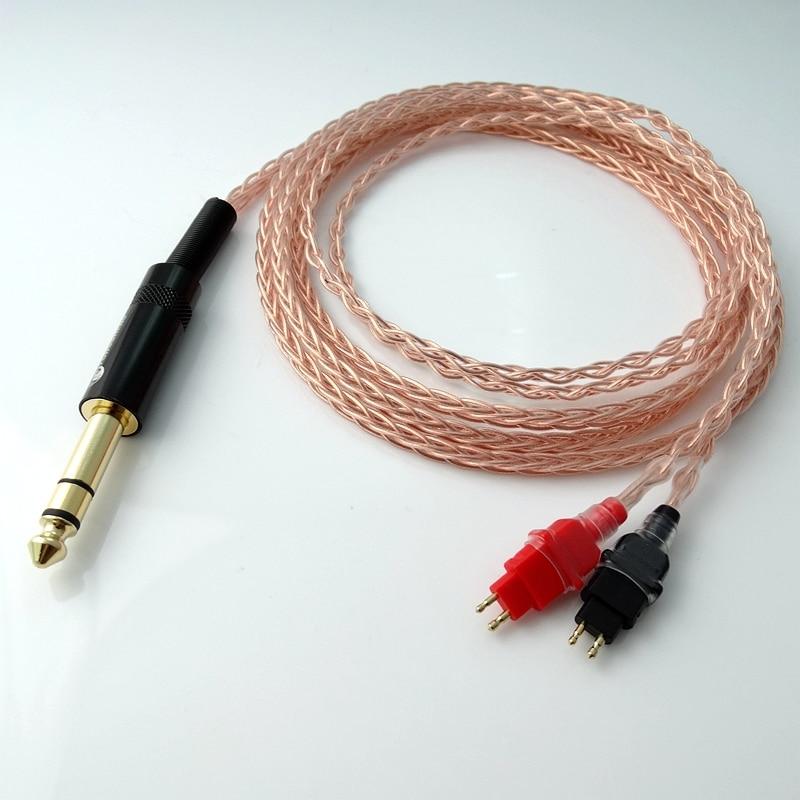 2,5m 1/4 6.35mm DIY Hi-end 8 südamikuga 5n Pcocc vask kõrvaklappide - Kaasaskantav audio ja video - Foto 4