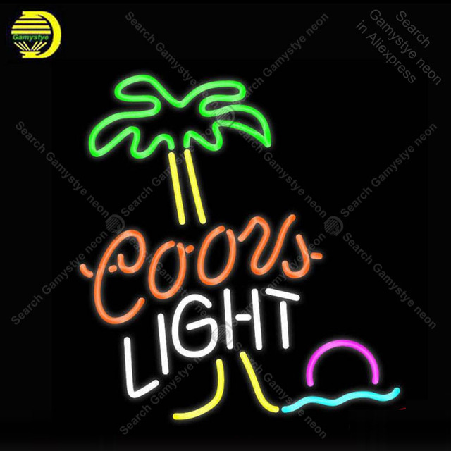NEON SIGN For Coors Light Palm Tree NEON Bulbs Signs Lamp Real GLASS Tube Decor Wall Club Room Handcraft Advertise Beer Bar neon