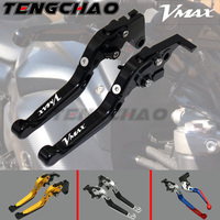 CNC With Logo Telescopic folding Motorcycle Adjustable Brake Clutch Levers For Yamaha VMAX V MAX 1700 09 16 V MAX 2009 2016
