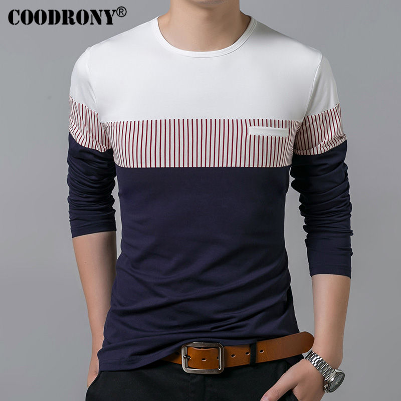 COODRONY T-Shirt Men 2019 Spring Autumn New Long Sleeve O-Neck T Shirt Men Brand Clothing Fashion Patchwork Cotton Tee Tops 7622 1