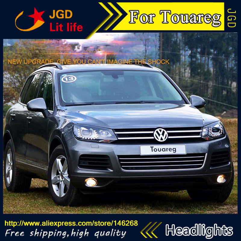 Free shipping ! Car styling LED HID Rio LED headlights Head Lamp case for VW Touareg 2012-2016 Bi-Xenon Lens low beam