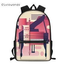ELVISWORDS Childrens Canvas Backpack Cartoon Cars Pattern Students School Book Bag Music Note Painting Kids Travel Backpacks
