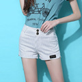 La raya del verano mujeres Shorts blanco negro Stretch caliente de tela de algodón para brasileño playa Tropical Feminino Shorts Hotpants