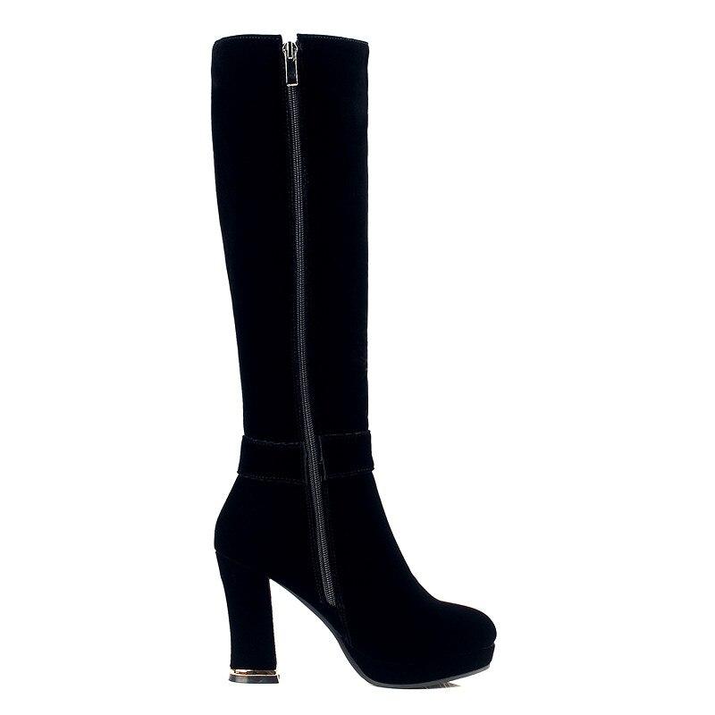 Courte Chevalier Épais Avec Haute Troupeau Bzbfsky 2018 Talons Femmes Éclair Bottes Longues Genou Pour Chaussures Black Peluche Fermeture OXZuPki