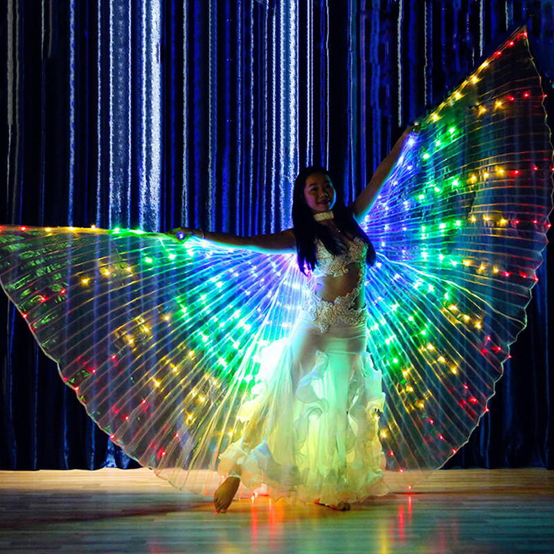Rainbow Performance Prop Women Dance Accessories Girls DJ LED Wings Light Up Wing Costume Butterfly Wings