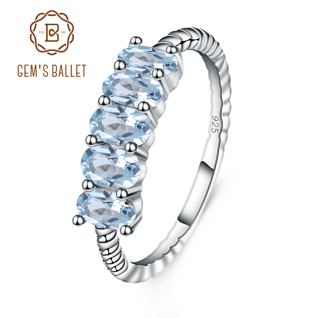 GEMS バレエクラシック 1.47ct オーバル天然スカイブルートパーズスタッカブル指リング女性の結婚式 925 スターリングシルバーファインジュエリー