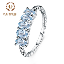 GEMS BALLET Classic 1.47ct Oval Natural Sky Blue Topaz Stackable Finger Ring For Women Wedding 925 Sterling Silver Fine Jewelry