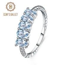 GEMS bale klasik 1.47ct Oval doğal Sky Blue Topaz istiflenebilir parmak yüzük kadınlar için 925 ayar gümüş güzel takı