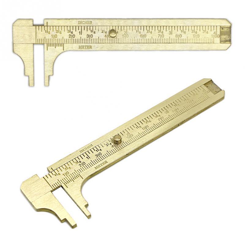 100mm Mini Brass Sliding Gauge Vernier Caliper Ruler Pocket Measuring Tool