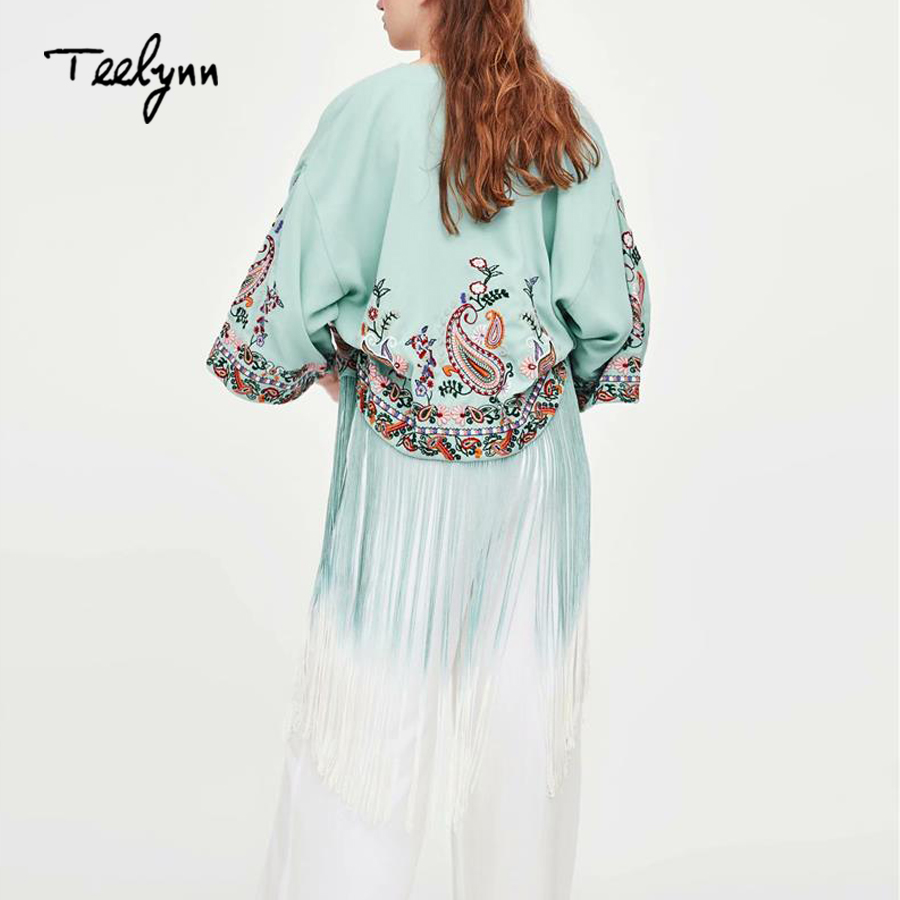 TEELYNN boho blouse for women 2018 autumn floral embroidery blouse sexy flare sleeve chic Gradient fringe