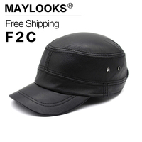 2018 Direct Selling Real Maylooks Leather Gorras Baseball Caps With Straight Visor Casual Good Quality Hats For Youth Flat Cs74