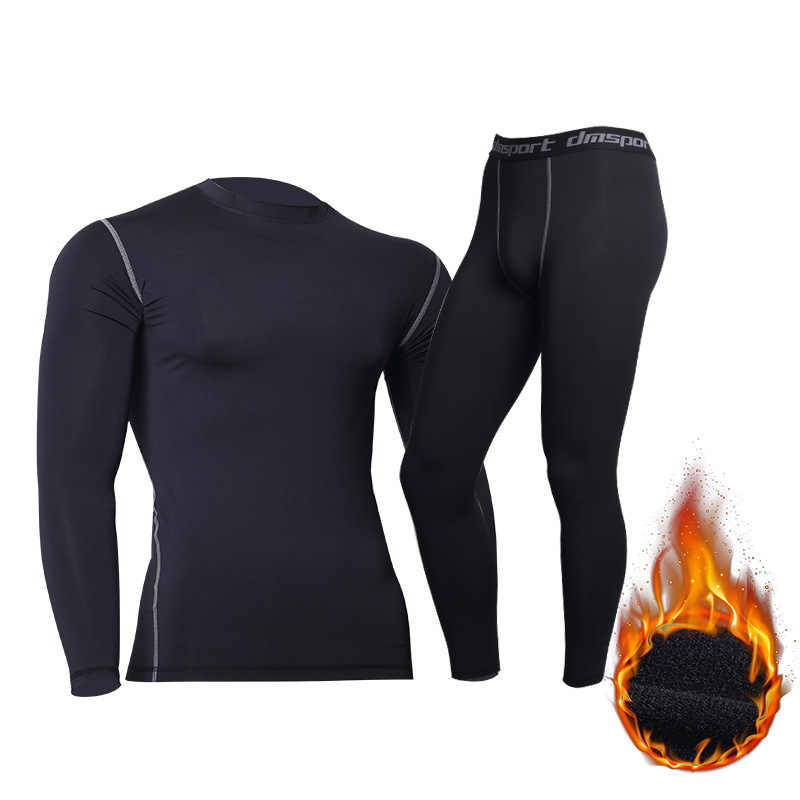 Add Fluff  Thermal Underwear Sets Men Long Johns Compression Underwear Winter Clothes Mens Leggings Quick Dry