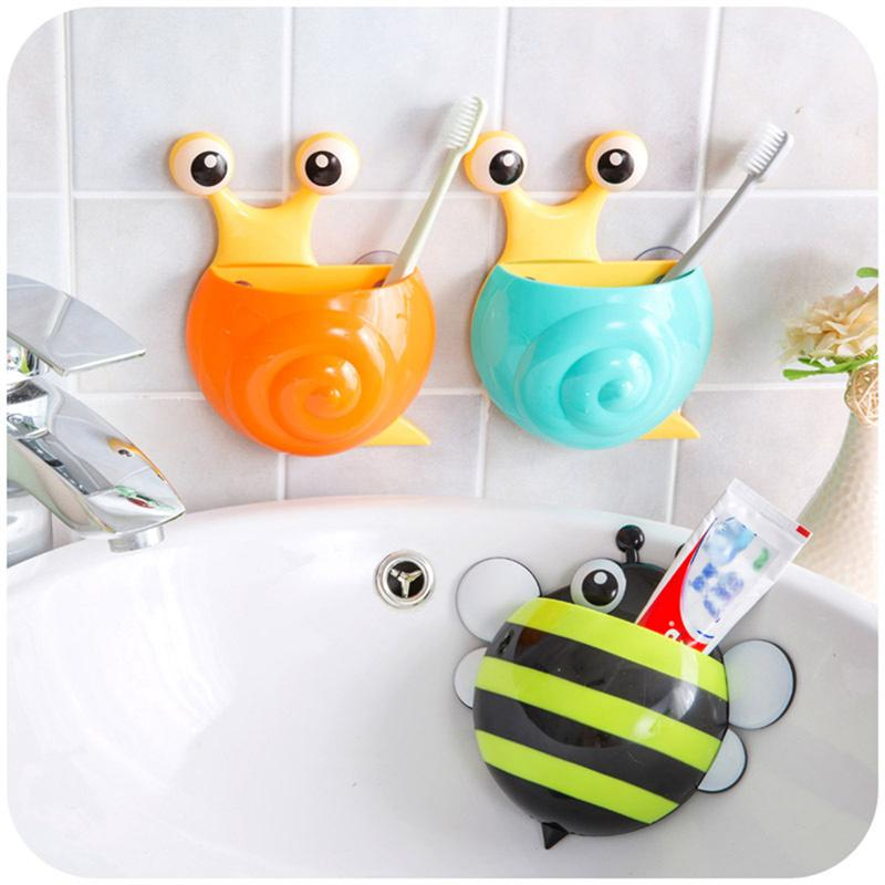 Image 4 - 4pcs Creative Toothpaste Holder Cute Snail Kids Wall Suction Cup Toothbrush Container Travel Bathroom Organizer(Random Color)-in Toothbrush & Toothpaste Holders from Home & Garden