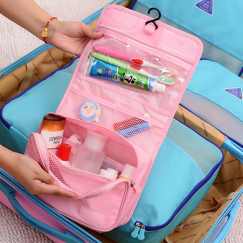 Image 5 - Hanging Toiletry Kit Clear Travel Storage Bag Cosmetic Carry Toiletry Pockets For Womens Wash Bag Traveling Wall Storage-in Storage Bags from Home & Garden
